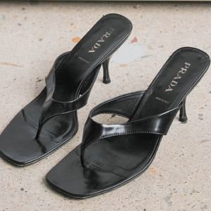 Authentic PRADA leather thong heel Size 38